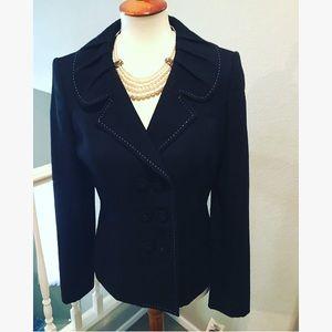 ❤️NWT🔥Ann Klein Black Jacket With Stitch Piping 8